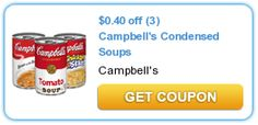 $0.40 off (3) Campbell's Condensed Soups - use on chicken noodle or tomato for great deals this time of year.