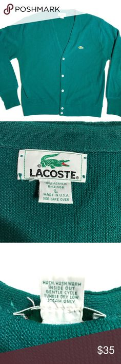 """Lacoste Hunter Green V Neck Varsity Cardigan Large Lacoste Hunter Green V Neck Button Down Varsity Style Acrylic Cardigan Large  *Great Used Condition! May have a snag or loose thread.  Measurements: 42"""" Chest 26"""" Length Lacoste Sweaters Cardigan"""