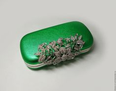 """Купить Кожаный летний клатч-бокс """"Лайм"""" - ярко-зелёный, кожаная женская сумка"""