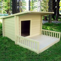 Give your dog a place to call his own with the New Age Pet ecoChoice Sante Fe Chalet Dog House.  It features an attached patio that is perfect for snoozing in the sun.  It's made from ecoFLEX, a patented blend of recycled polymers and wood byproducts, which offers a long life cycle and weather-resistance.     - See more at: http://www.large-dog-houses.com/blog/lang/us/ecoflex-santa-fe-chalet/#sthash.JnCIVtpr.dpuf