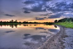 Sunset over a pond in Northwest Indiana.