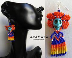 Huichol Catrina Earrings 019 Mexican earrings Huichol