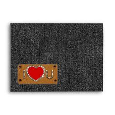 I Love You. Black Denim design Valentine's Day / Any occasion Envelopes. Matching cards, postage stamps and other products available in the Holidays / Valentine's Day Category of the Mairin Studio store at zazzle.com