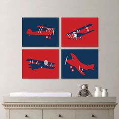 Navy Blue and Red Retro Airplane Print Quad - Nursery. Baby. Boy. Transportation. Bedroom. Vintage - You Pick the Size (NS-445) on Etsy, £18.30