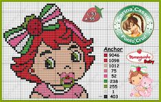 Baby Strawberry Shortcake perler bead pattern by Carina Cassol -