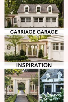 We are building a new home with carriage garage and breezeway so I have been doing tons of research. Here are lots of gorgeous inspiration photos. Garage Guest House, Carriage House Garage, Carriage House Apartments, Garage Apartments, Garage Door Design, Garage Doors, Garage Addition, Garage Plans, Garage Ideas