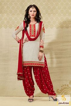 Pavitraa Stunning Off #White and #Red Casual #Salwar Suit