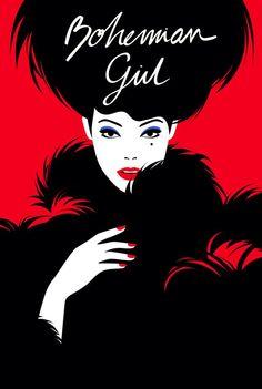 The Bohemian Girl illustration by Malika Favre for the Westbury Hotel in Dublin, Ireland Pop Art, Arte Pop, Portrait Illustration, Digital Illustration, Graphic Art, Graphic Design, Logo Design, Bohemian Girls, Positive And Negative