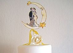 Deco Moon Wedding Cake Topper - Vintage Inspired - Featured in Brides Magazine - Outlined in Gold Glitter