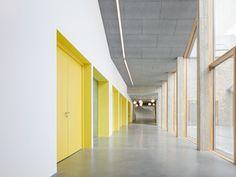 Gallery of Kult / Pool Leber Architekten + Bleckmann Krys Architekten - 13 - Esra A - Atrium Design, Brick Facade, Architectural Section, Concrete Structure, Acoustic Panels, Brick Building, Architect Design, Cladding, School Design