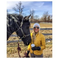 Winter equestrian style! 20 x 60 Founder, Alexandria DeVries, and her Friesian mare at the barn. www.20x60.com/live20x60