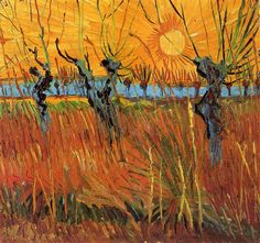 Willows at Sunset - Vincent van Gogh - Completion Date: Fall of 1888 - Place of Creation: Arles, France ............#GT