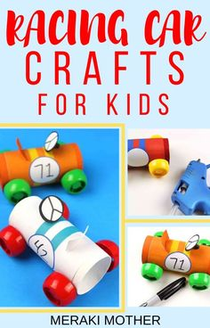 This easy DIY racing car craft for kids is super fun for boys to make and play with! Craft Projects For Kids, Diy Arts And Crafts, Toddler Crafts, Diy Crafts For Kids, Preschool Activities, Art Projects, Recycle Crafts, Daycare Crafts, Family Crafts