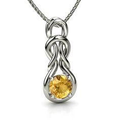 Round Citrine 14K White Gold Necklace | Forget Me Knot Pendant | Gemvara