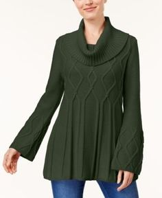 Style & Co Petite Cowl-Neck Tunic Sweater, Created for Macy's - Green P/XL