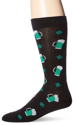Mens St Patricks Day Socks Green Beer Shamrocks Casual Crew K Bell  #KBell #Casual