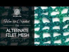 How to Crochet the Alternate Filet Mesh Stitch (left handed). This video crochet tutorial will help you learn how to crochet the alternate filet mesh stitch. This stitch creates a delicate mesh Crochet Stitches Patterns, Crochet Chart, Filet Crochet, Knitting Stitches, Stitch Patterns, Knit Crochet, Crochet Box, Things To Make With Yarn, New Stitch A Day