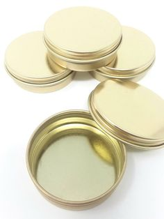 Gold Metal Tins oz) with Screw On Lids, Small, Round Empty Containers for Lip Balm, Party Favor Vegan Makeup Diy, Diy Makeup, Gold Lips, Metal Tins, Lip Balm, Empty, Tableware, Unique Jewelry, Handmade Gifts