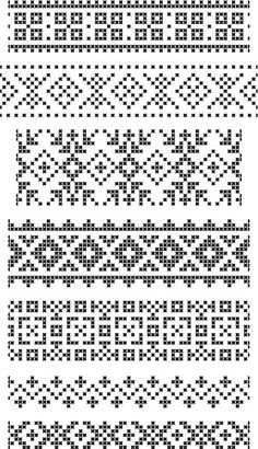 Fantastic Snap Shots Cross Stitch borders Style Set of seamless geometrical borders embroidery cross vector: set of seamless geometrical borders, e Funny Cross Stitch Patterns, Cross Stitch Borders, Cross Stitch Alphabet, Cross Stitching, Crochet Motifs, Crochet Borders, Crochet Chart, Fair Isle Knitting Patterns, Knitting Charts