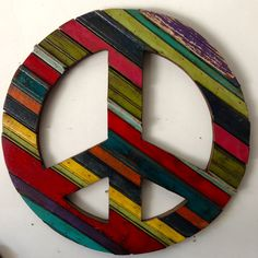 Peace Sign by RidleyStallingsArt on Etsy Table Throw, Reclaimed Wood Art, Paint Stain, Wall Sculptures, Cool Art, Awesome Art, Wood Wall Art, Wood Crafts, Screen Printing