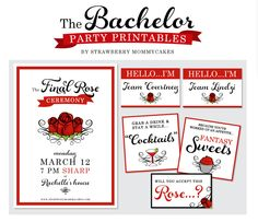 The Final Rose- Party Printables for The Bachelor Finale! The Bachelor Season 20, Bachelor Night, Abc The Bachelor, Bachelor Parties, Bachelor Games, Abc Party, Party Themes, Party Ideas, Themed Parties