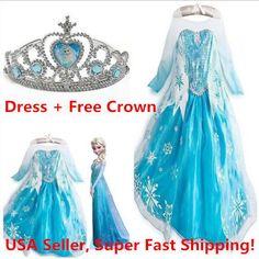 Girls Kids Dress Frozen Elsa Anna Party costume Princess +  Free Crown 2-10Y #DH…