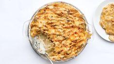 Cheesy Potatoes Gratin Recipe Recipe | Bon Appétit Creamed Potatoes, Cheesy Potatoes, Sliced Potatoes, Potato Gratin Recipe, Potato Recipes, Potato Dishes, The Dish, Bon Appetit, Recipes