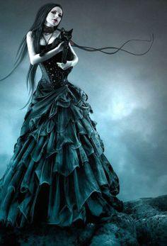 princess of the dark with black cat