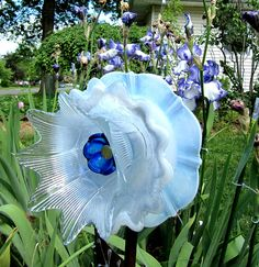 yard art glass plate flower upcycled art garden arthome