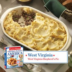 50 States in 50 Days: West Virginia :: West Virginia Shepherd's Pie   Taste of Home.  Find regional Southern recipes like this one and more in our new cookbook, Recipes Across America---->  http://www.tasteofhome.com/rd.asp?id=22997