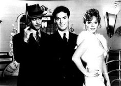Johnny Dangerously with Three People posed in Black and White Premium Art Print