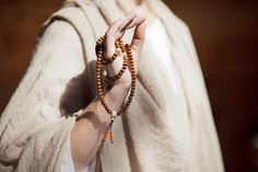 108 Mala Handmade Necklace with Brown and Orange wooden beads and Up-Cycled Beige Beads