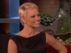 Pamela Anderson on The Ellen Degeneres Show with her new pixie cut!