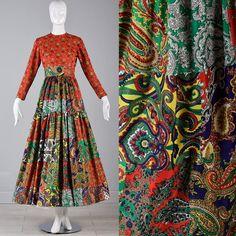 70s maxi jurk gewatteerde Print Maxi jurk lange door StyleandSalvage
