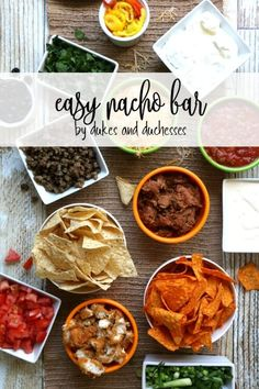 Celebrate the big game by adding some fun to the festivities! This easy nacho bar is quick to set up and guests will love it!