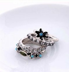 Vintage Silver Rings With Floral Element (4 pcs) $5.98