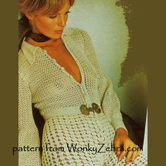 WZ616 FAB crochet gaucho suit or catsuit all in one. lots of stitches but stunning and very sexy when done! Vintage pattern by Barbara Warner Couture crochet; from WonkyZebra.com