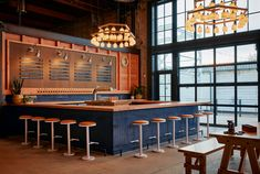 Converted Warehouse, Fireclay Tile, Thin Brick, Glass Brick, Steel Beams, Hall Design, Tap Room, 2020 Design, Meals For One