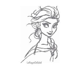 Cross stitch pattern Elsa Frozen sketched by LeRayonDeSoleil