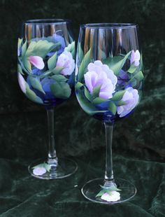 Hand Painted Wine Glasses (Set of 2) - Lavender and Pink Sweet Peas