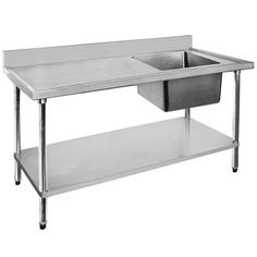 Single Sink Bench 1200 W x 600 D x 900 H mm with Right Bowl