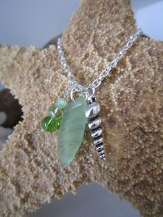 Seafoam Green Sea Glass with Grooves & Spiral Charm