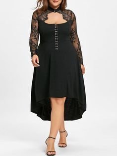 6653fa26376 GAMISS Womens Plus Size Lace Up High Low Hem Vintage Dress Black     To  view further for this item