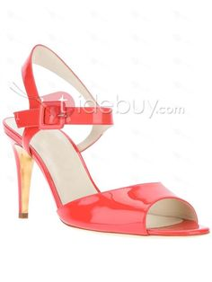 Charming Red Color Peep Toe Leather Women Sandals : Tidebuy.com