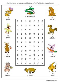 free printable puzzle worksheet on animals in spanish animales fun handout homework for kids