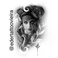 Girl Face Tattoo, Girl Tattoos, Tattoo Sketches, Tattoo Drawings, Tattoo Ink, Clock Tattoo Design, Tattoo Designs, Ozzy Tattoo, Medusa Art