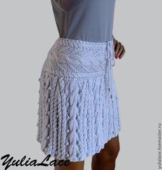 "Вязаная юбка "" Светло-серая"" - серый,юбка,юбка вязаная,юбка спицами,вязаная спицами юбка"