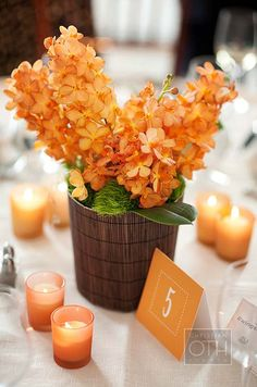 Low arrangements of orange blossoms and votive candles were a chic and simple centerpiece at this Colin Cowie designed wedding.