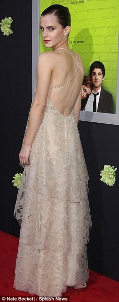 You looks absolutely enchanting! Em... #EmmaWatson #fashion and #movies  Farewell Hermione! Emma Watson is a red carpet princess in backless lace dress for The Perks of Being a Wallflower premiere