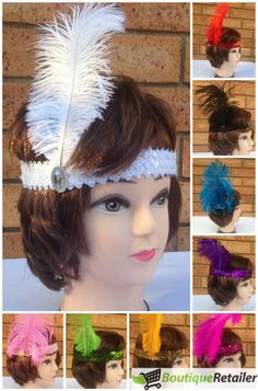 FLAPPER HEADBAND Feather Sequin Costume Dress Charleston Gatsby Headpiece 1920's, these are cute if you want something cheap